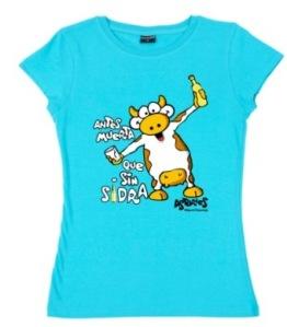 Camiseta con dibujo de vaca y sidra